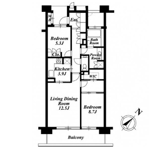 2LDK Apartment in Fukasawa - Setagaya-ku Floorplan