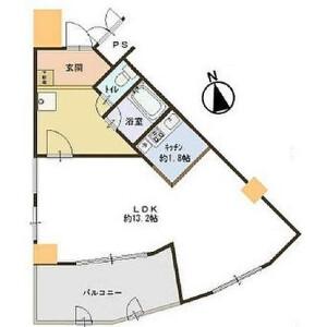 1LDK Apartment in Ebie - Osaka-shi Fukushima-ku Floorplan