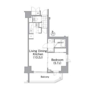 1LDK Apartment in Roppongi - Minato-ku Floorplan