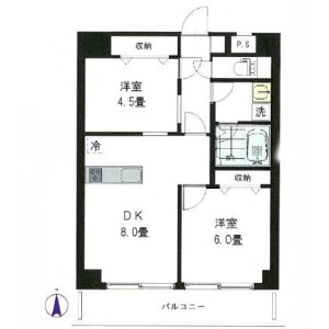 2LDK Mansion in Tomihisacho - Shinjuku-ku Floorplan