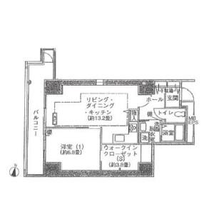 1LDK Apartment in Kamiosaki - Shinagawa-ku Floorplan