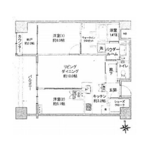 2SLDK Mansion in Minamiaoyama - Minato-ku Floorplan