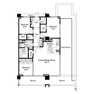 新宿區南元町-3LDK公寓 房間格局