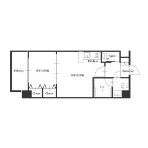 1LDK Mansion in Oyodokita - Osaka-shi Kita-ku Floorplan