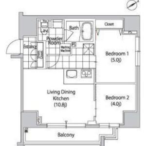 涩谷区恵比寿-2LDK公寓大厦 楼层布局
