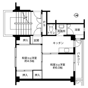 2K Mansion in Butsuden - Uozu-shi Floorplan