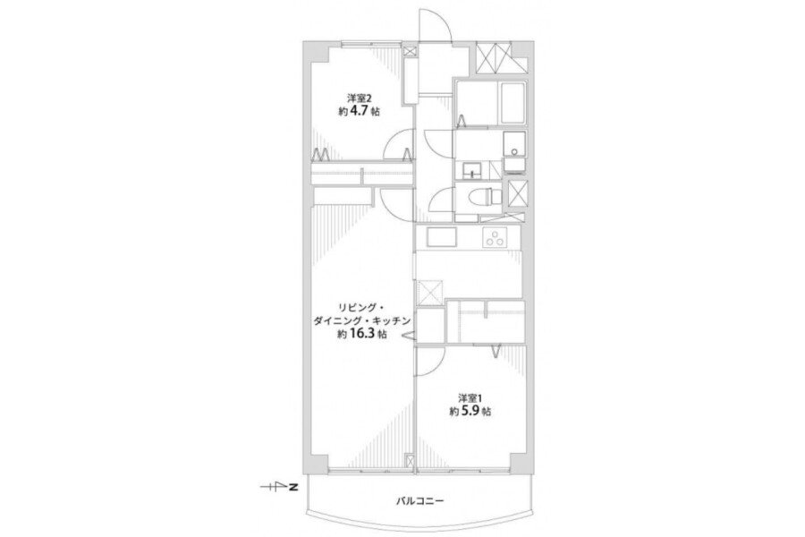 2LDK Apartment to Buy in Kyoto-shi Shimogyo-ku Floorplan