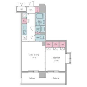文京区本郷-1LDK公寓大厦 楼层布局