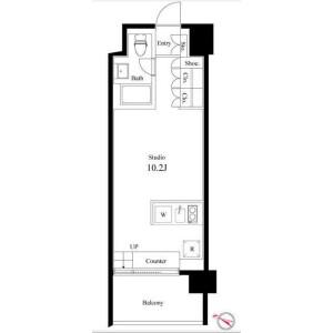 目黒區柿の木坂-1R公寓大廈 房間格局