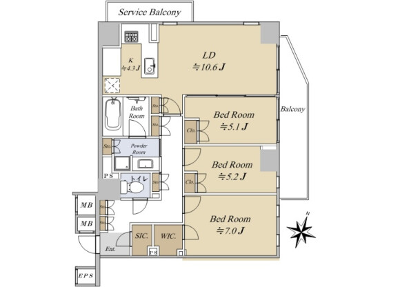 3LDK Apartment to Buy in Shibuya-ku Floorplan
