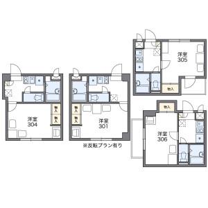 大阪市北区中崎西-1K公寓大厦 楼层布局