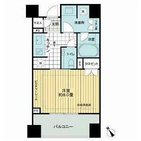港區六本木-1K公寓大廈 房間格局