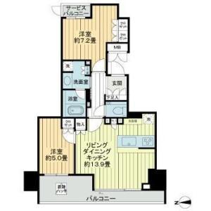 品川区北品川(1〜4丁目)-2LDK公寓大厦 楼层布局