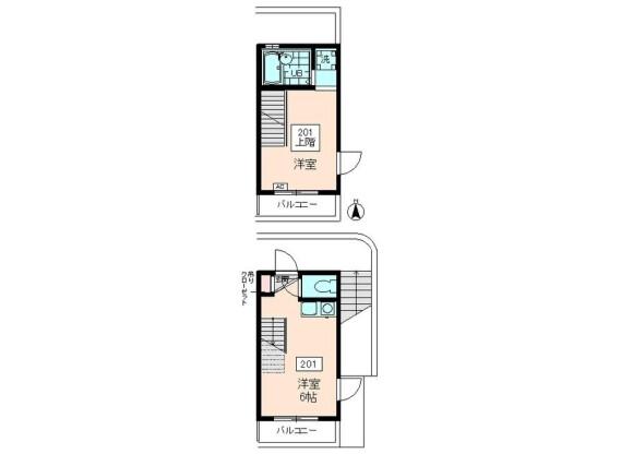 1DK Apartment to Rent in Chofu-shi Floorplan