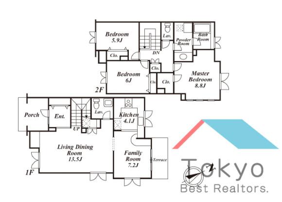 3LDK Town house to Rent in Suginami-ku Floorplan