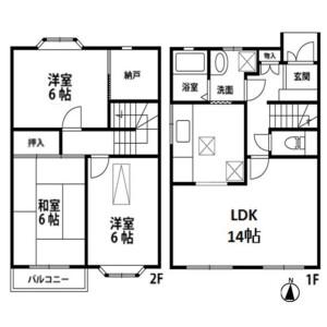 3LDK Terrace house in Nakayamacho - Yokohama-shi Midori-ku Floorplan
