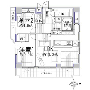 2LDK {building type} in Komusubidanacho - Kyoto-shi Nakagyo-ku Floorplan