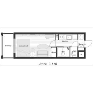 1K Mansion in Higashikujo nishisannocho - Kyoto-shi Minami-ku Floorplan