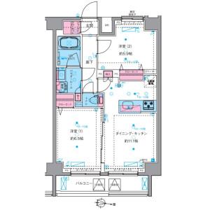 2LDK Mansion in Nihonzutsumi - Taito-ku Floorplan