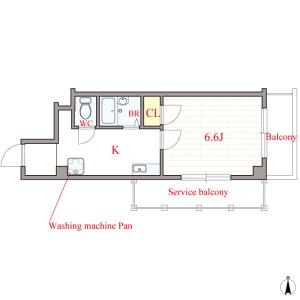 大阪市西區南堀江-1K公寓大廈 房間格局