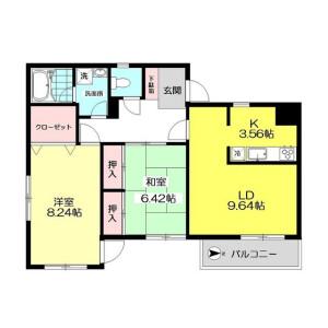 府中市西府町-2LDK公寓大廈 房間格局