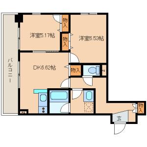 2DK Mansion in Shinkawa - Chuo-ku Floorplan