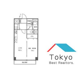 涩谷区南平台町-1LDK公寓大厦 楼层布局