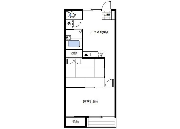 2LDK アパート 横浜市鶴見区 間取り