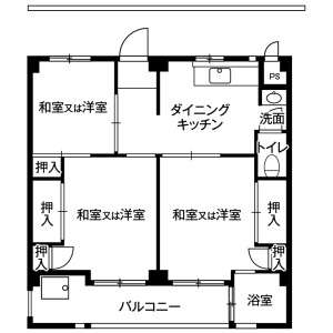 松戸市小金原-3DK公寓大厦 楼层布局
