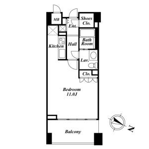 品川区上大崎-1R公寓大厦 楼层布局