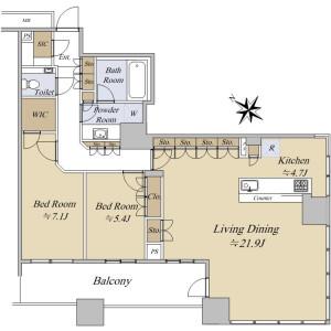 2LDK {building type} in Ariake - Koto-ku Floorplan