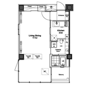 1K Apartment in Ebisunishi - Shibuya-ku Floorplan