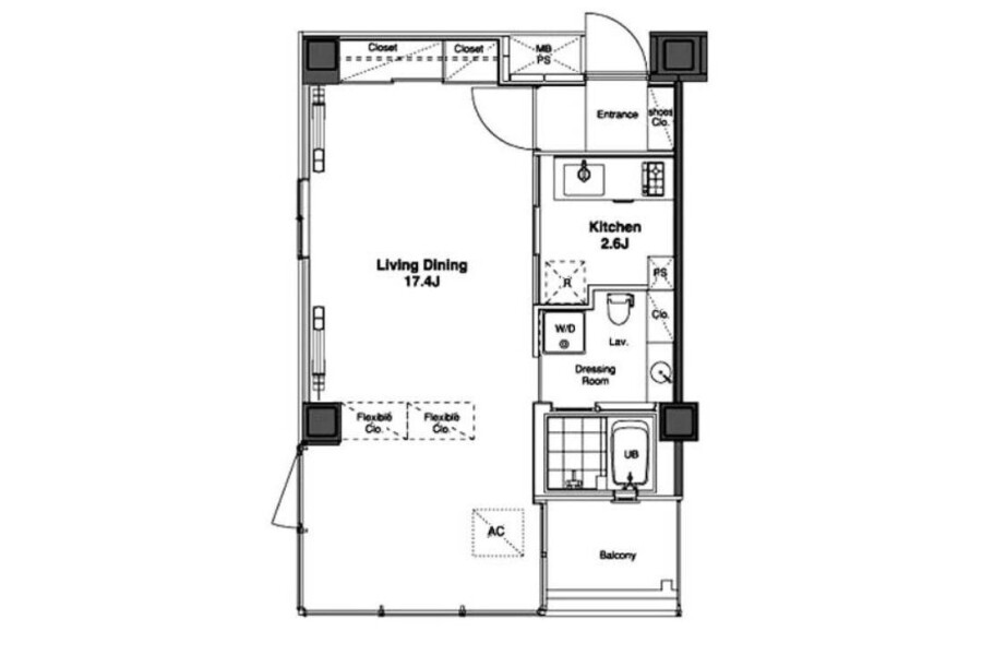1K Apartment to Rent in Shibuya-ku Floorplan