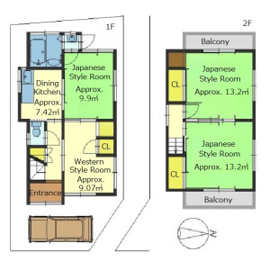 4DK {building type} in Koyama nakanokawacho - Kyoto-shi Yamashina-ku Floorplan