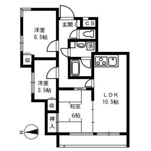 3LDK Apartment in Kakinokizaka - Meguro-ku Floorplan