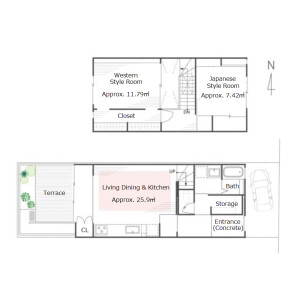 2LDK {building type} in Imagumano minamihiyoshicho - Kyoto-shi Higashiyama-ku Floorplan