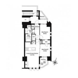 2LDK Mansion in Sambancho - Chiyoda-ku Floorplan