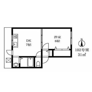 1DK Mansion in Minamisenzoku - Ota-ku Floorplan