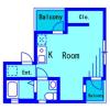 在品川区内租赁1R 公寓大厦 的 楼层布局