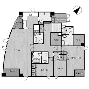 3LDK Apartment in Takikawacho - Nagoya-shi Showa-ku Floorplan