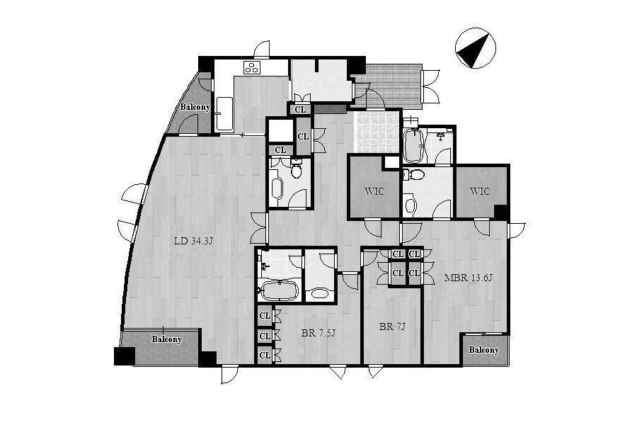 3LDK Apartment to Rent in Nagoya-shi Showa-ku Floorplan