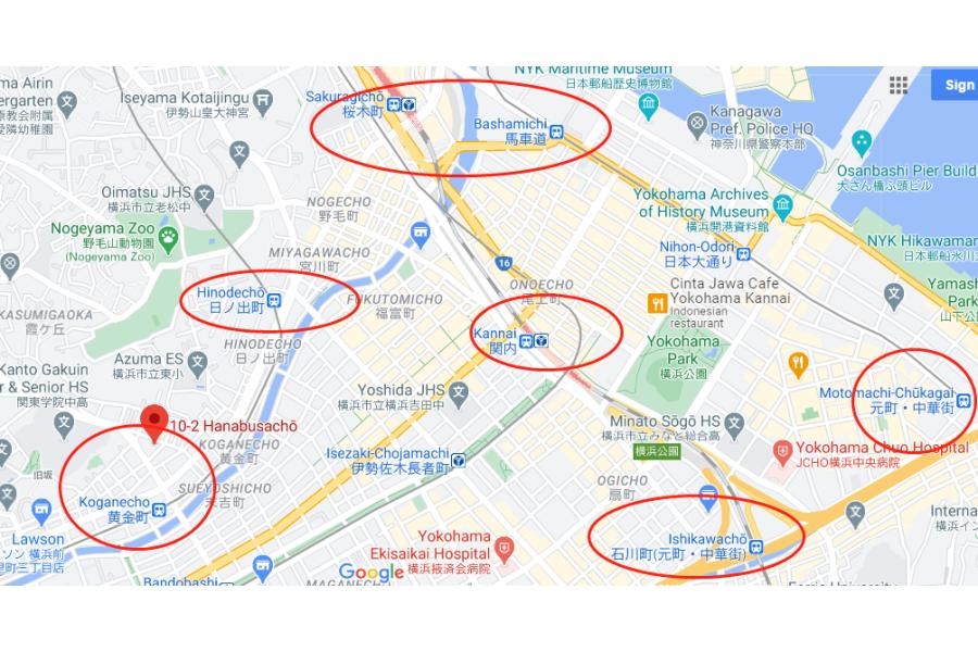 1R アパート 横浜市中区 地図