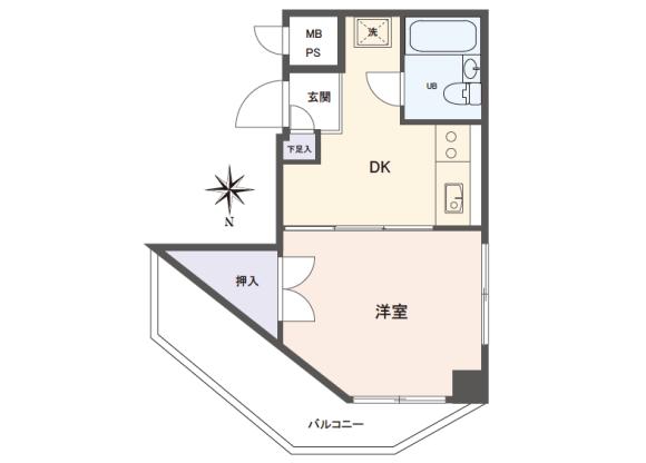 1DK Apartment to Buy in Nerima-ku Floorplan