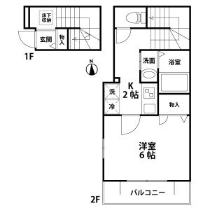 1K Apartment in Benten - Chiba-shi Chuo-ku Floorplan