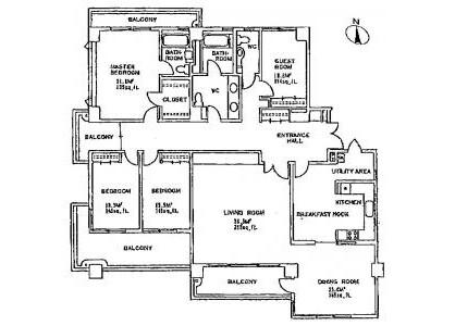 4LDK Apartment to Rent in Shibuya-ku Floorplan