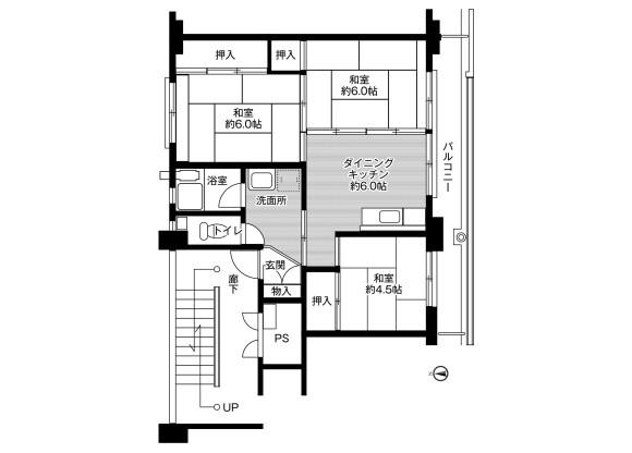 3DK Apartment to Rent in Ena-shi Floorplan