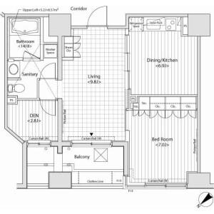 品川区西五反田-1SLDK公寓大厦 楼层布局