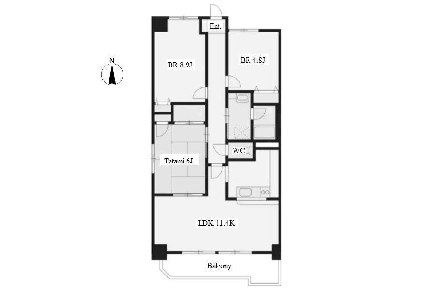 3LDK Apartment to Rent in Nagoya-shi Showa-ku Floorplan