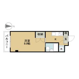 1K Mansion in Nishiwaseda(2-chome1-ban1-23-go.2-ban) - Shinjuku-ku Floorplan