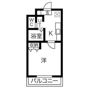 名古屋市南區柴田町-1K公寓大廈 房間格局